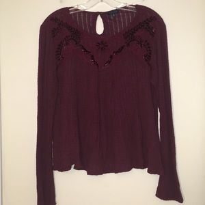 Lucky Brand Boho Lace Front Cropped Top